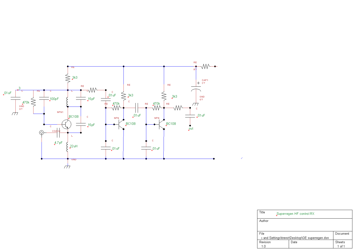 Electronic Circuit Schematics Usb Camera Diagram Amplifiercircuit For Superregenerative Receiver Built By Ge Labs